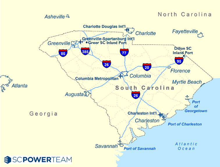 SC Interstates Map